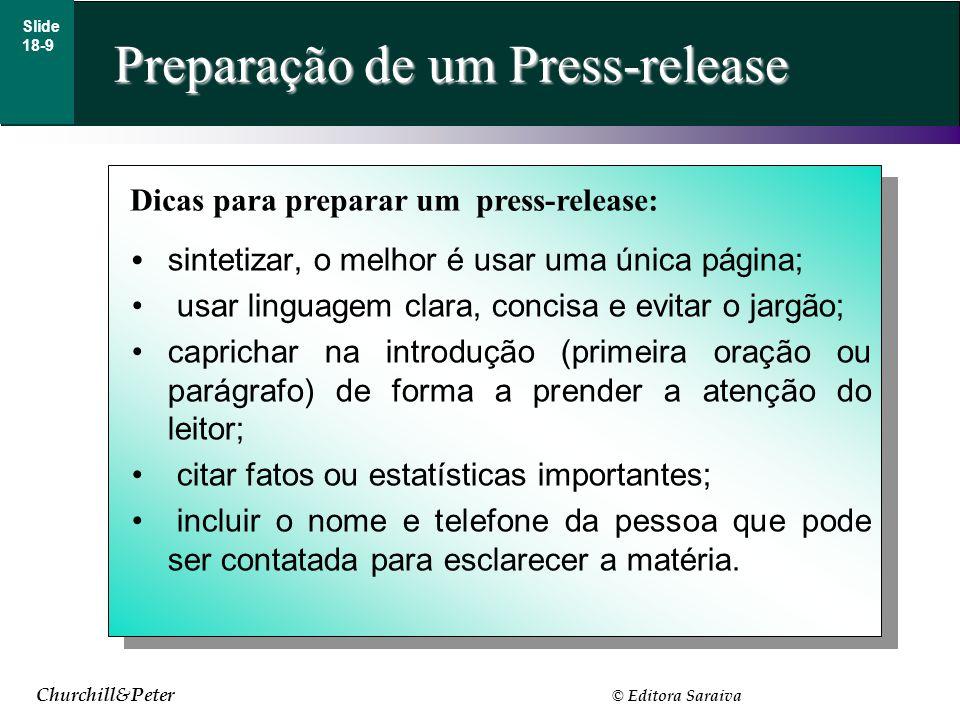Preparação de um Press-release