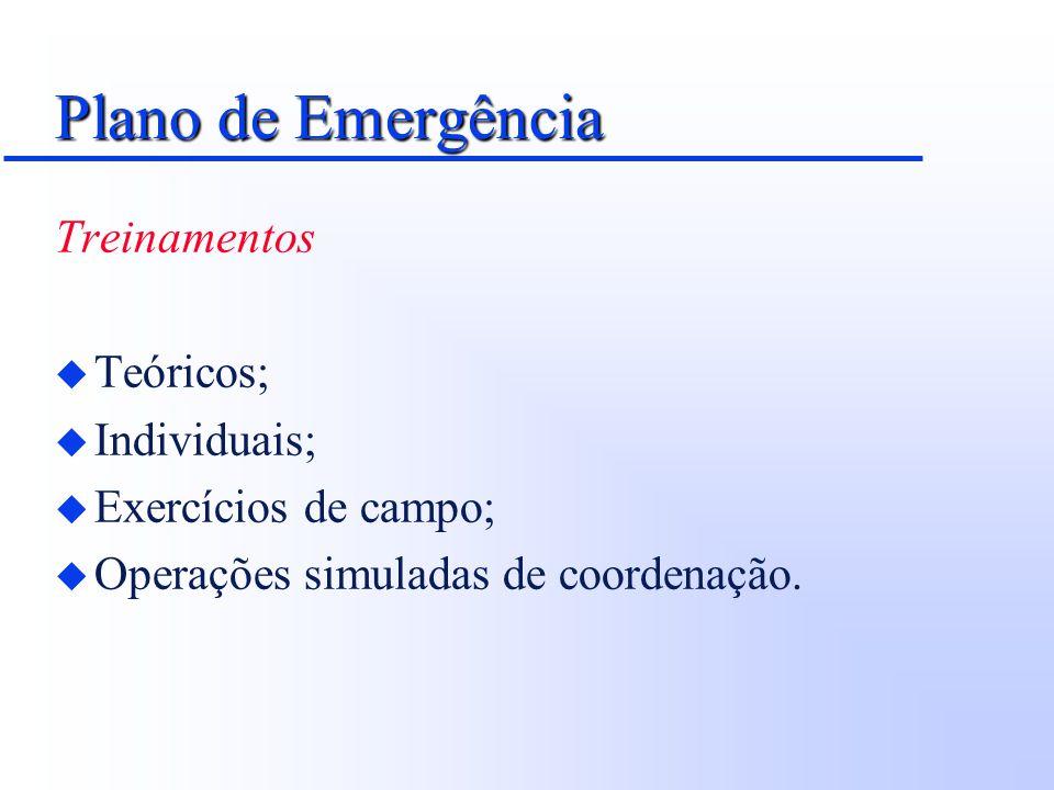 Plano de Emergência Treinamentos Teóricos; Individuais;