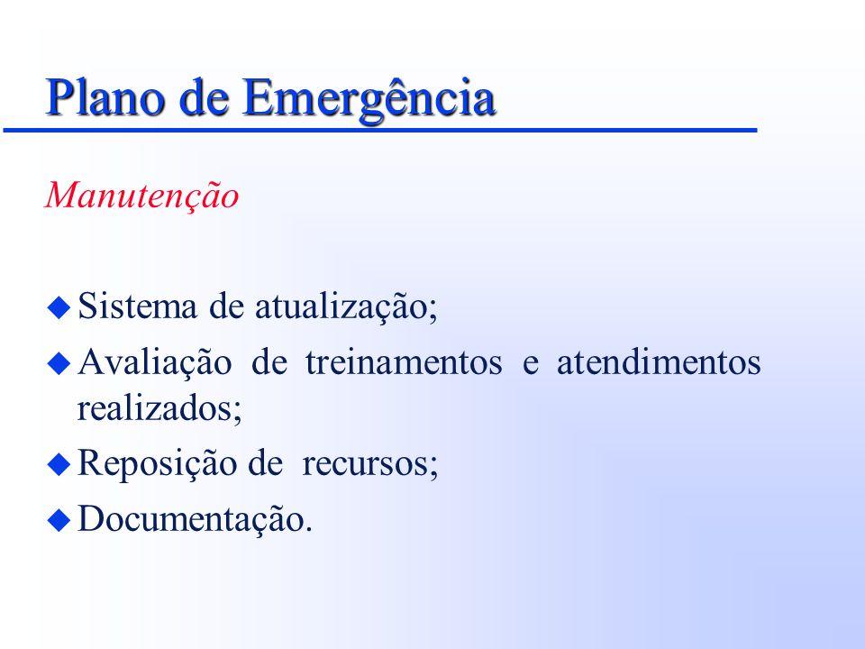 Plano de Emergência Manutenção Sistema de atualização;