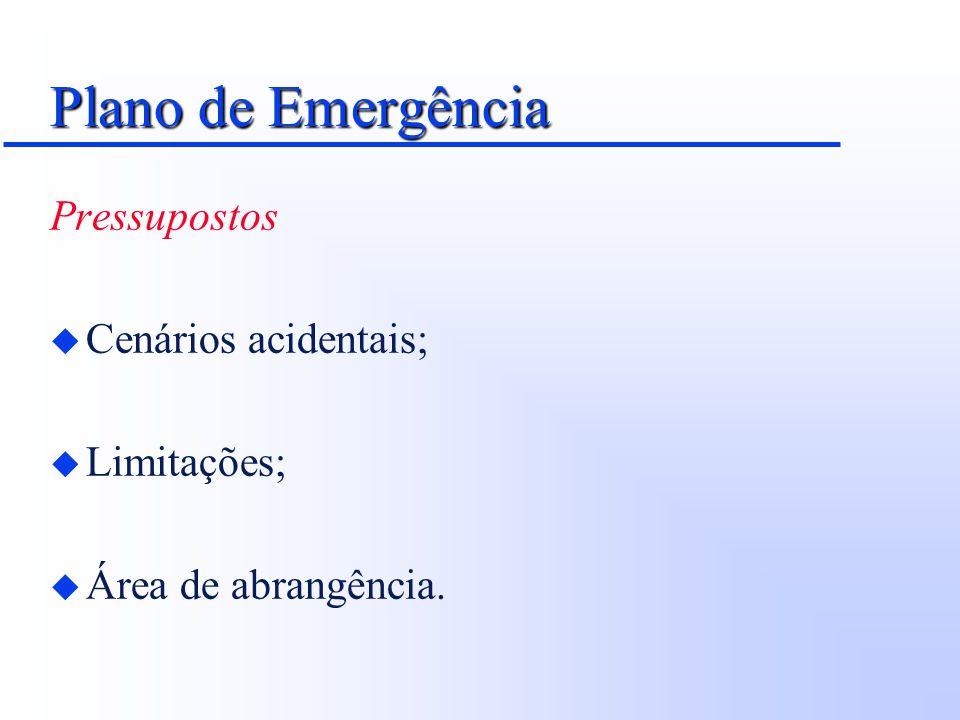 Plano de Emergência Pressupostos Cenários acidentais; Limitações;