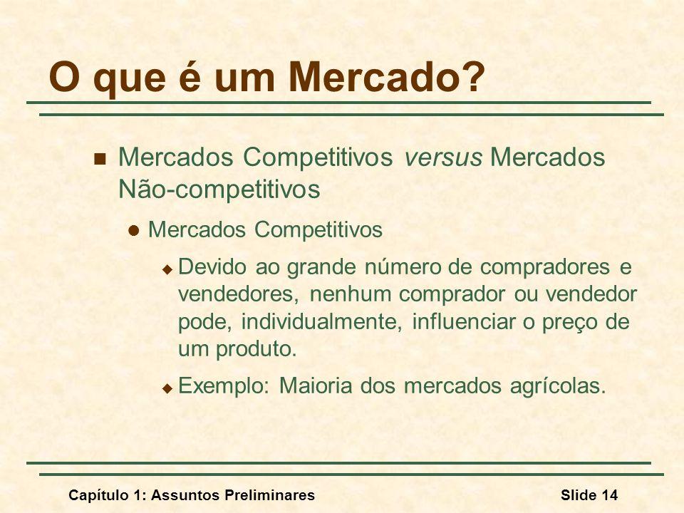 O que é um Mercado Mercados Competitivos versus Mercados Não-competitivos. Mercados Competitivos.