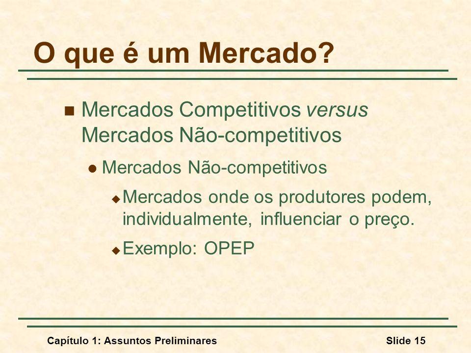 O que é um Mercado Mercados Competitivos versus Mercados Não-competitivos. Mercados Não-competitivos.