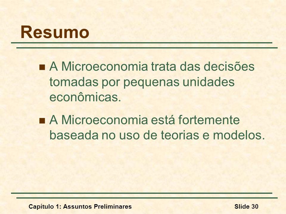 Resumo A Microeconomia trata das decisões tomadas por pequenas unidades econômicas.
