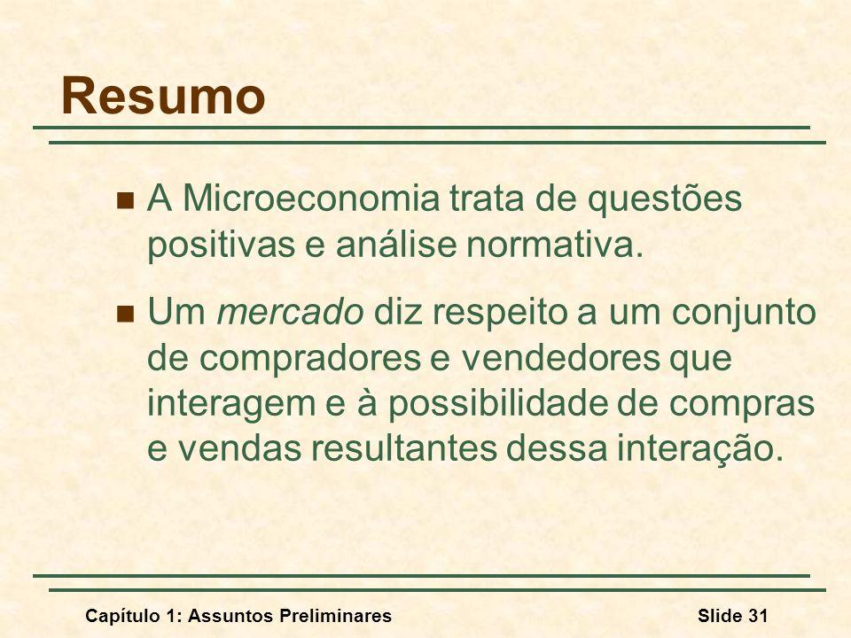 Resumo A Microeconomia trata de questões positivas e análise normativa.