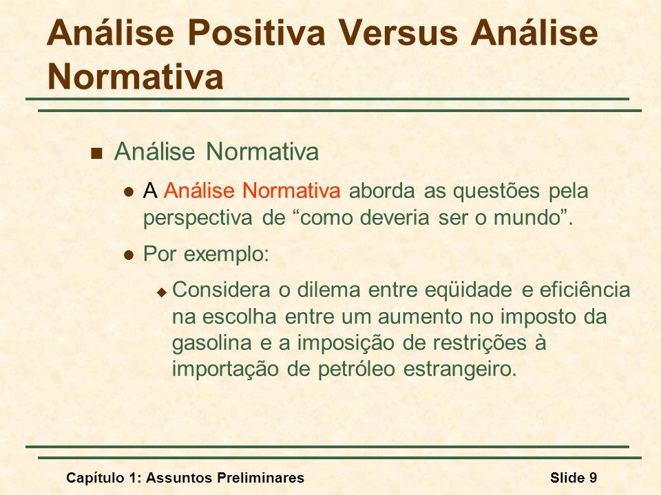 Análise Positiva Versus Análise Normativa