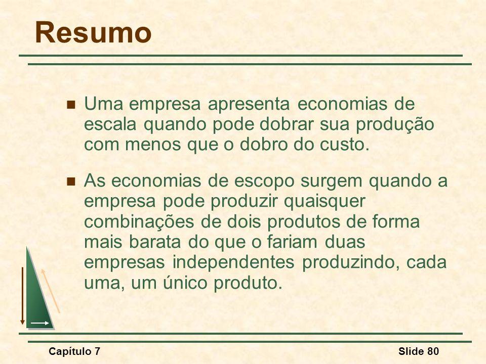 Resumo Uma empresa apresenta economias de escala quando pode dobrar sua produção com menos que o dobro do custo.