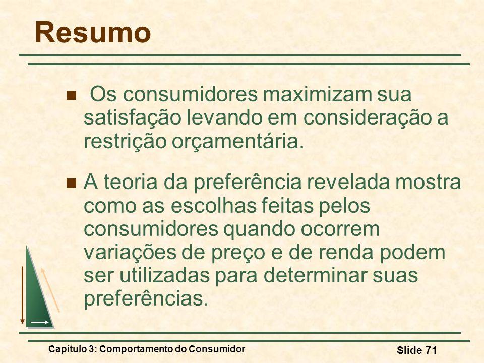 Resumo Os consumidores maximizam sua satisfação levando em consideração a restrição orçamentária.