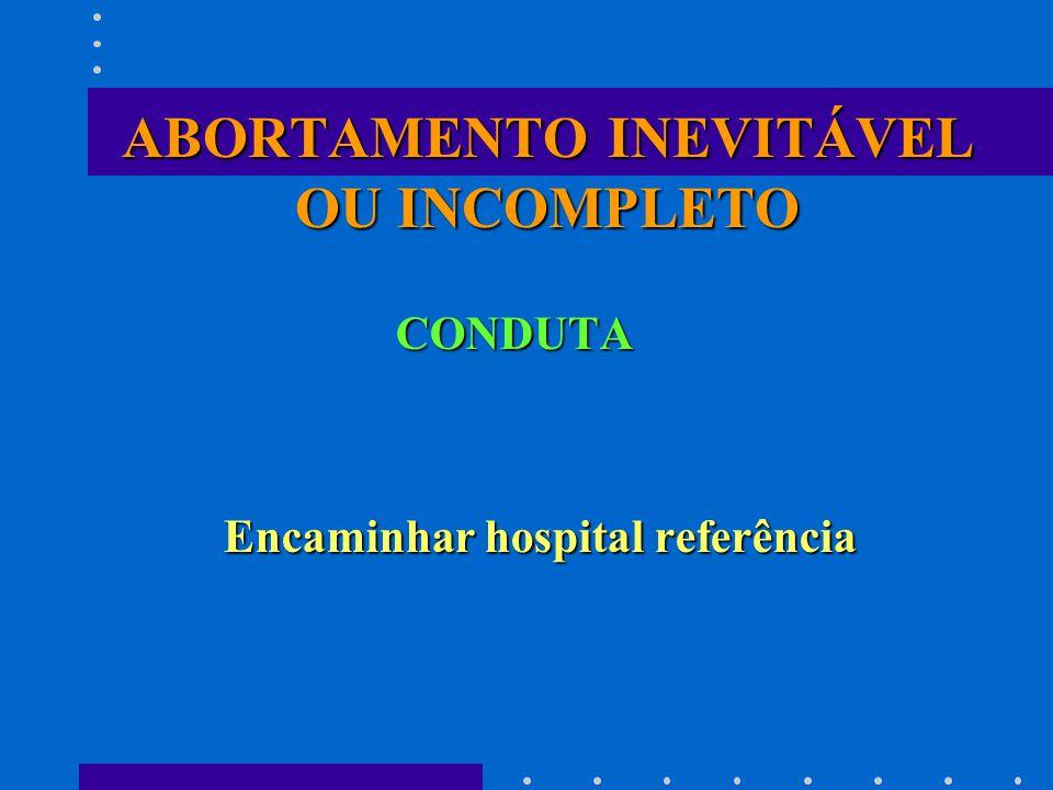 ABORTAMENTO INEVITÁVEL OU INCOMPLETO