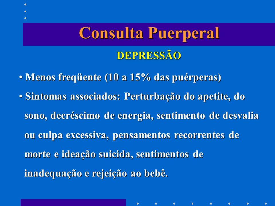 Consulta Puerperal DEPRESSÃO Menos freqüente (10 a 15% das puérperas)