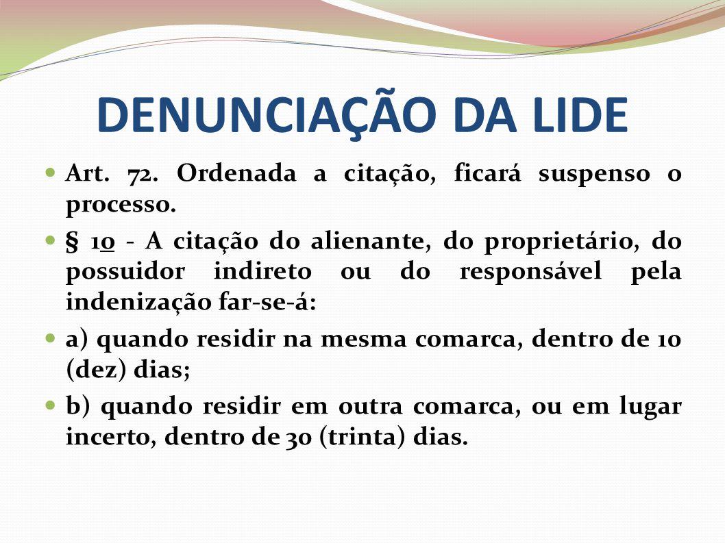 DENUNCIAÇÃO DA LIDE Art. 72. Ordenada a citação, ficará suspenso o processo.