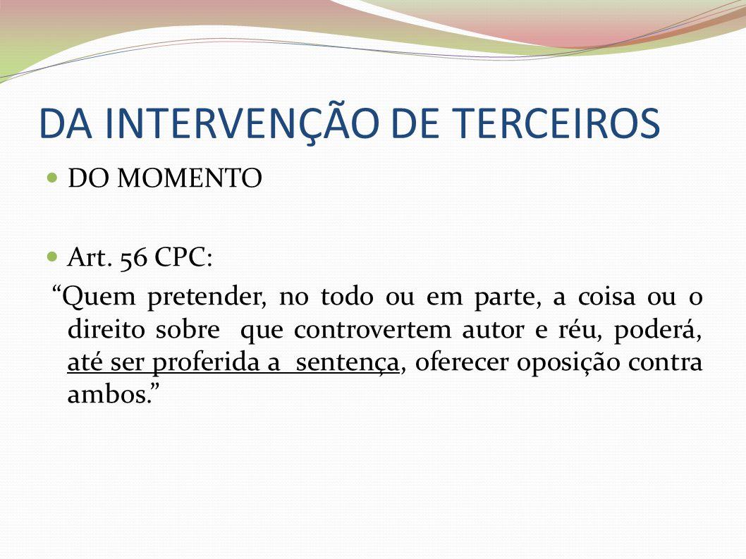 DA INTERVENÇÃO DE TERCEIROS