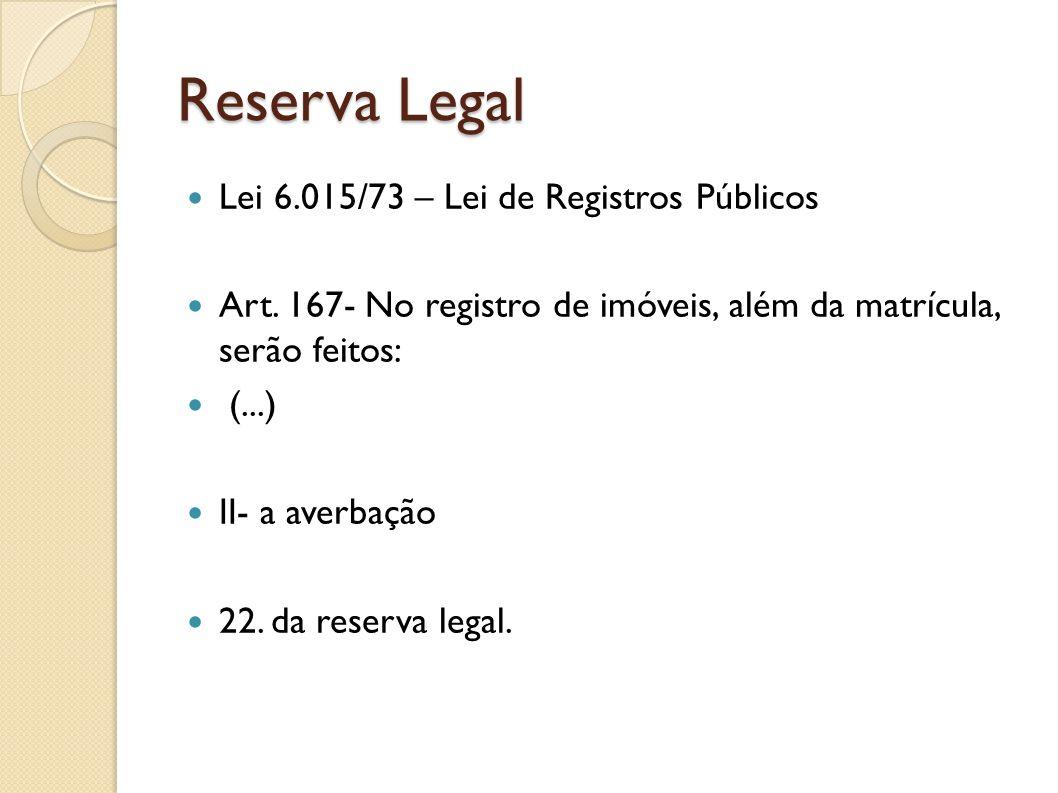 Reserva Legal Lei 6.015/73 – Lei de Registros Públicos