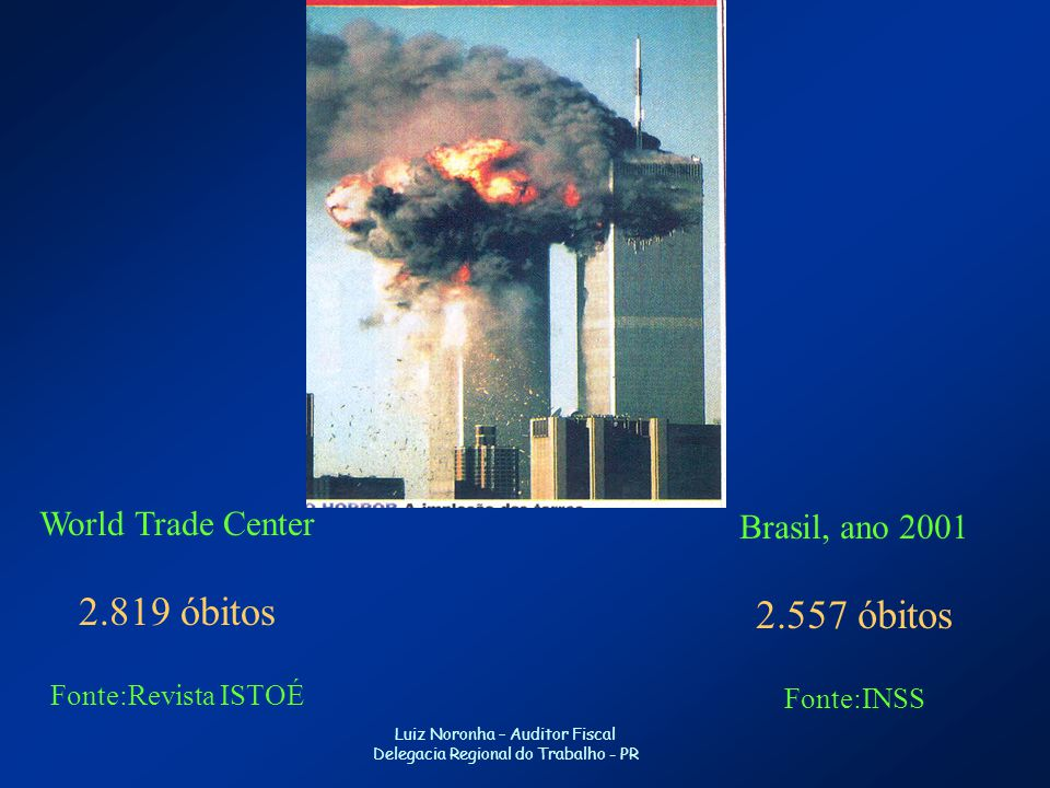 2.819 óbitos 2.557 óbitos World Trade Center Brasil, ano 2001