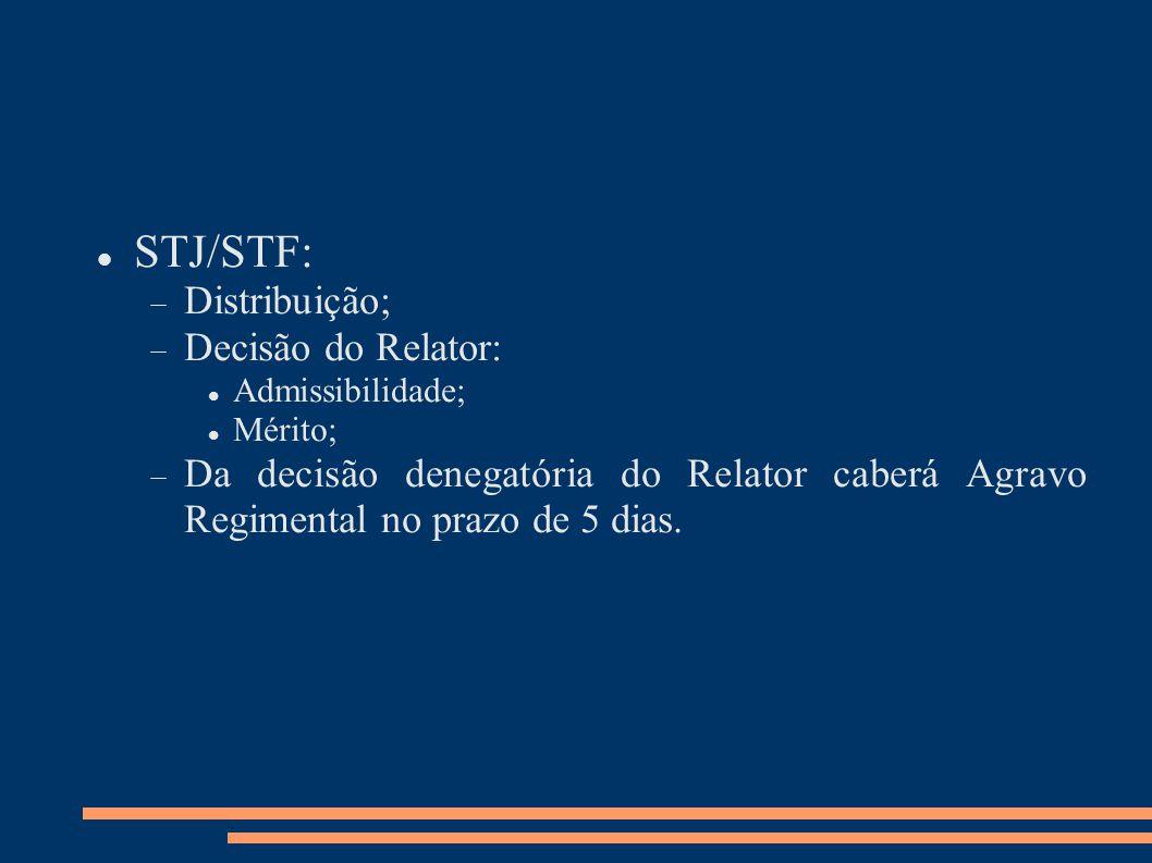 STJ/STF: Distribuição; Decisão do Relator: