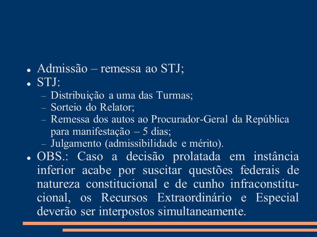 Admissão – remessa ao STJ; STJ: