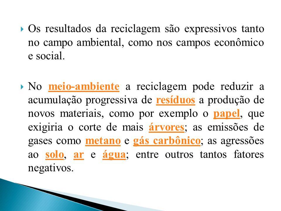 Os resultados da reciclagem são expressivos tanto no campo ambiental, como nos campos econômico e social.