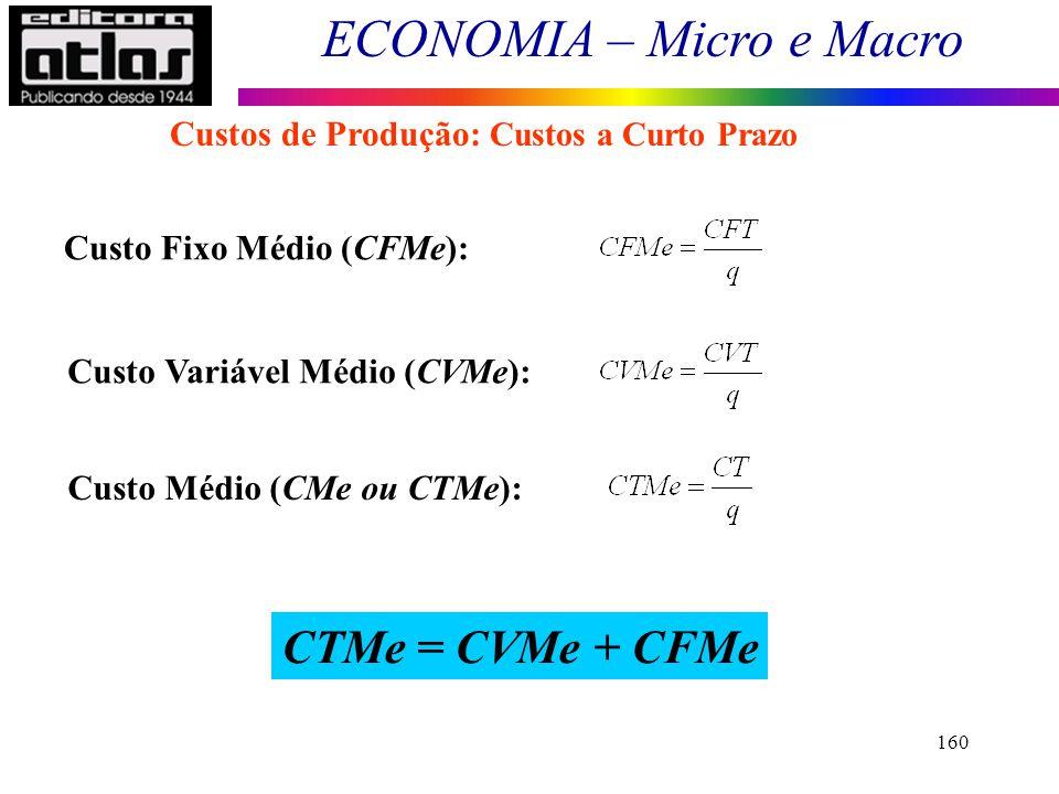 CTMe = CVMe + CFMe Custos de Produção: Custos a Curto Prazo