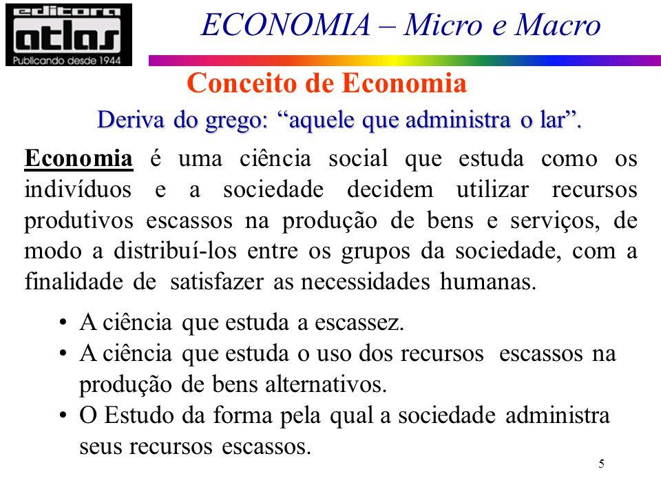Conceito de Economia Deriva do grego: aquele que administra o lar .