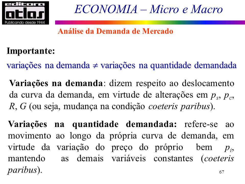 variações na demanda  variações na quantidade demandada