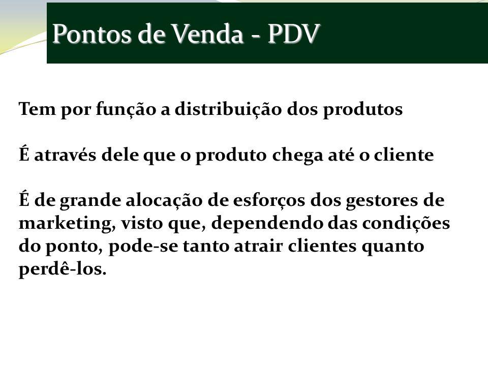 Pontos de Venda - PDV Tem por função a distribuição dos produtos