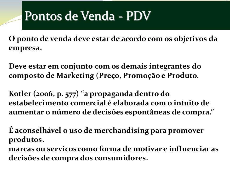 Pontos de Venda - PDV O ponto de venda deve estar de acordo com os objetivos da empresa,