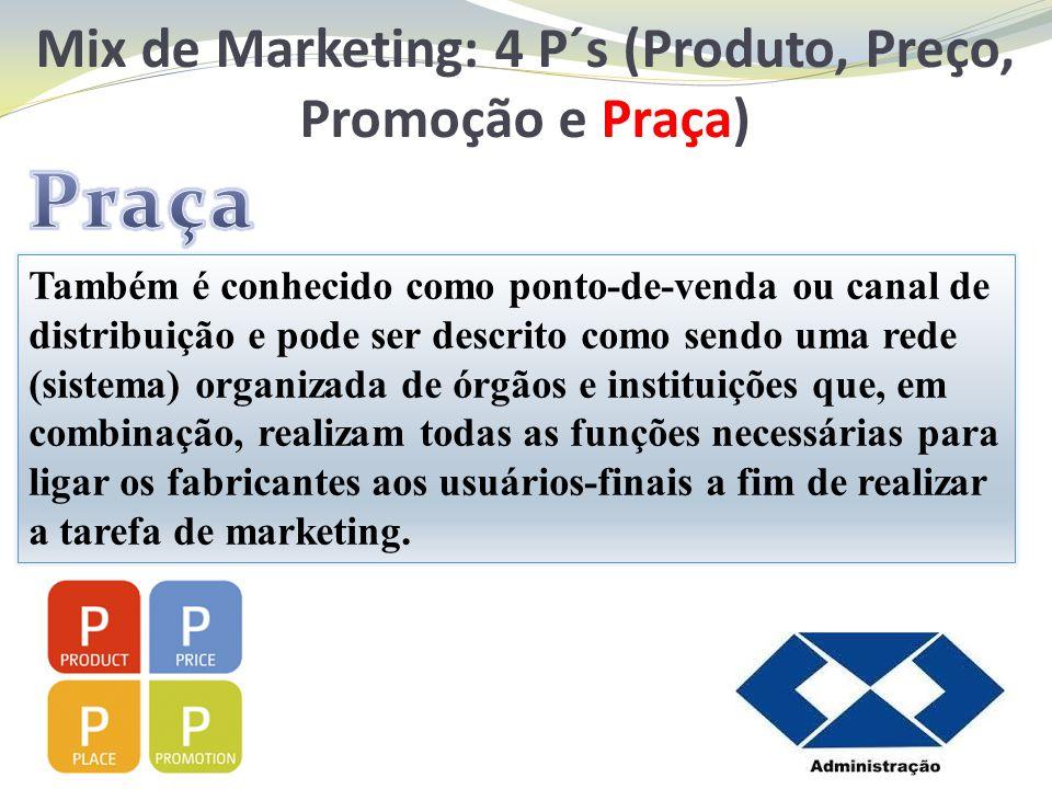 Mix de Marketing: 4 P´s (Produto, Preço, Promoção e Praça)