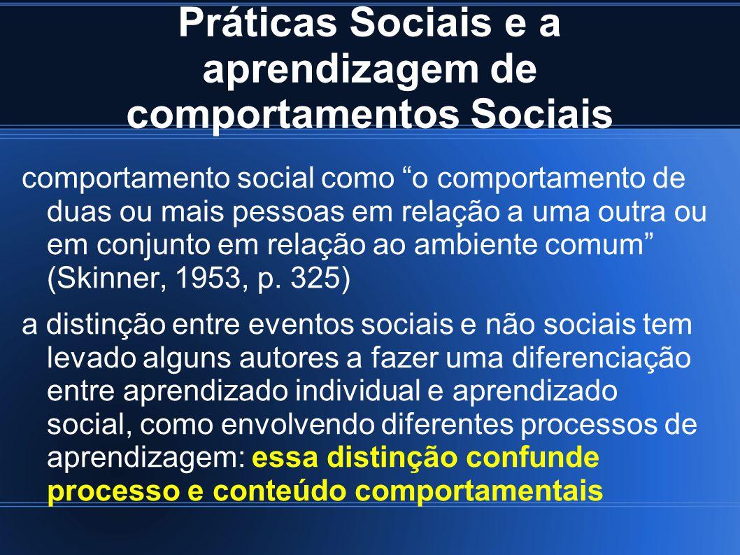 Práticas Sociais e a aprendizagem de comportamentos Sociais