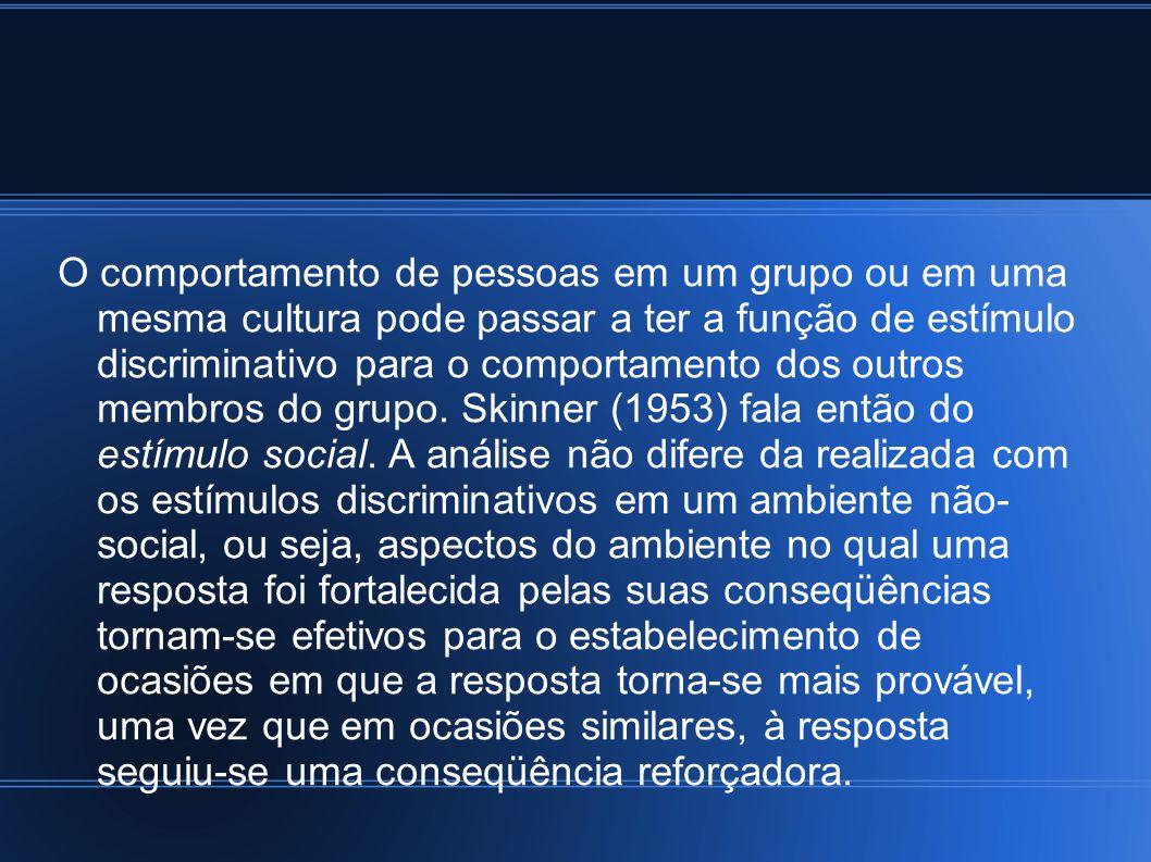 O comportamento de pessoas em um grupo ou em uma mesma cultura pode passar a ter a função de estímulo discriminativo para o comportamento dos outros membros do grupo.