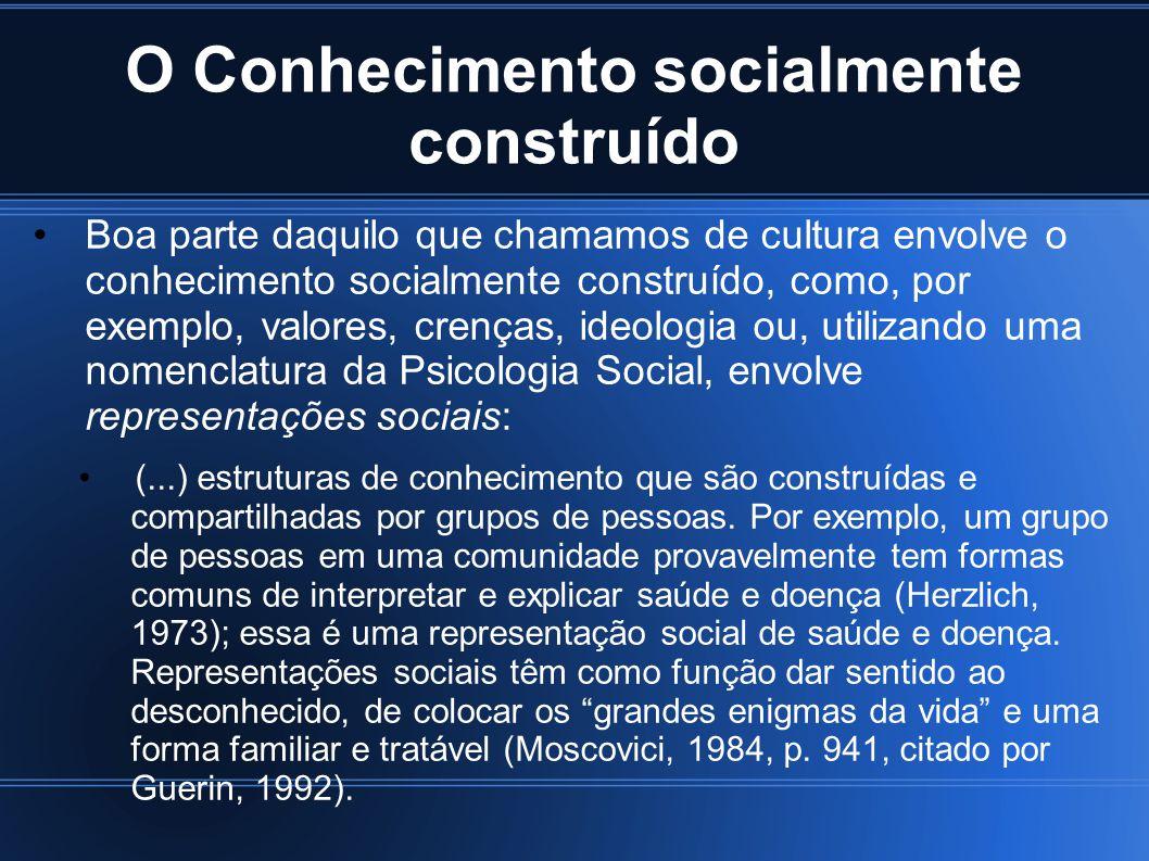 O Conhecimento socialmente construído