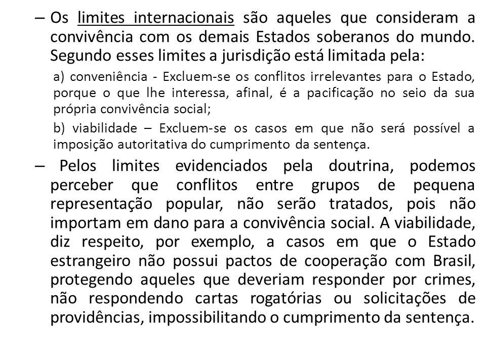 Os limites internacionais são aqueles que consideram a convivência com os demais Estados soberanos do mundo. Segundo esses limites a jurisdição está limitada pela: