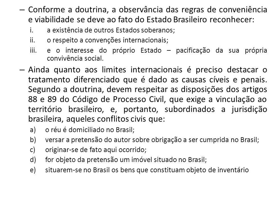 Conforme a doutrina, a observância das regras de conveniência e viabilidade se deve ao fato do Estado Brasileiro reconhecer: