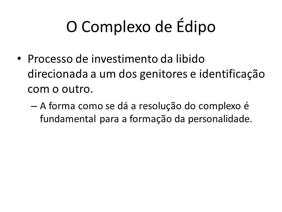 O Complexo de Édipo Processo de investimento da libido direcionada a um dos genitores e identificação com o outro.