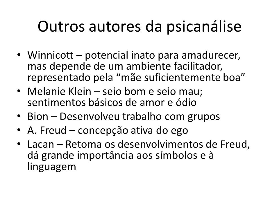 Outros autores da psicanálise