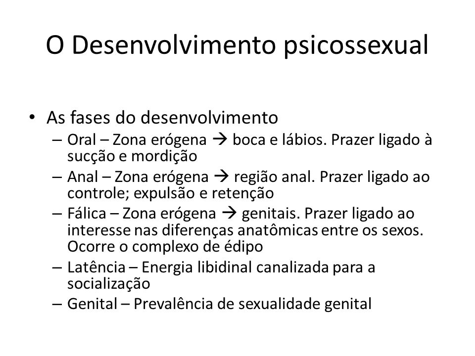 O Desenvolvimento psicossexual