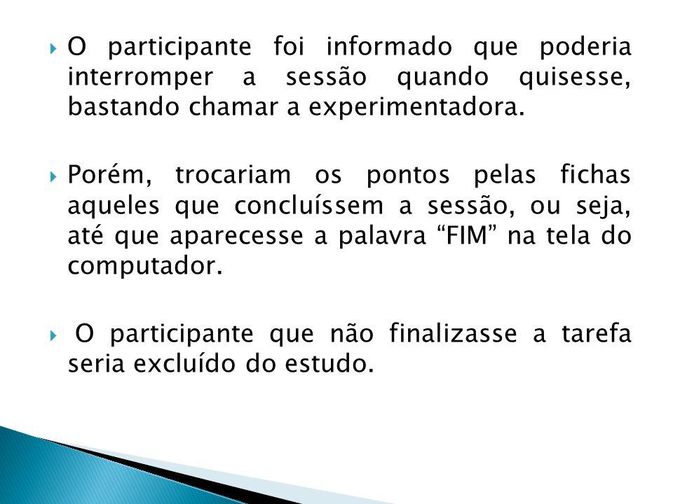 O participante foi informado que poderia interromper a sessão quando quisesse, bastando chamar a experimentadora.