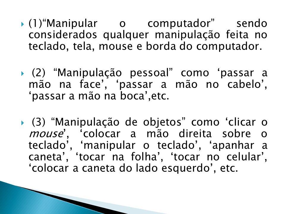 (1) Manipular o computador sendo considerados qualquer manipulação feita no teclado, tela, mouse e borda do computador.