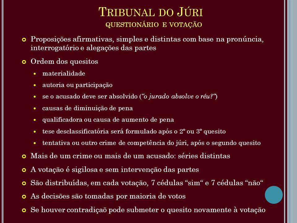 Tribunal do Júri questionário e votação