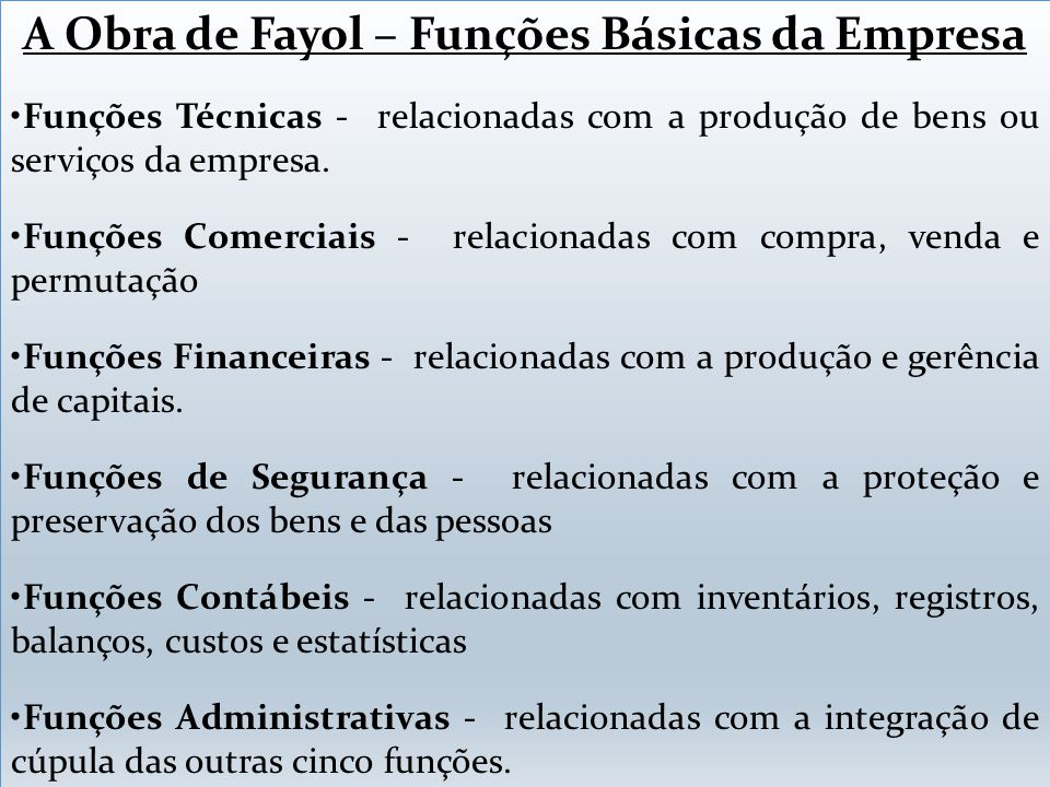 A Obra de Fayol – Funções Básicas da Empresa