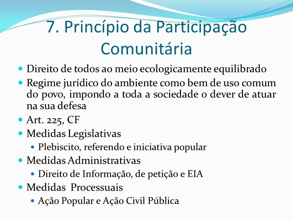 7. Princípio da Participação Comunitária