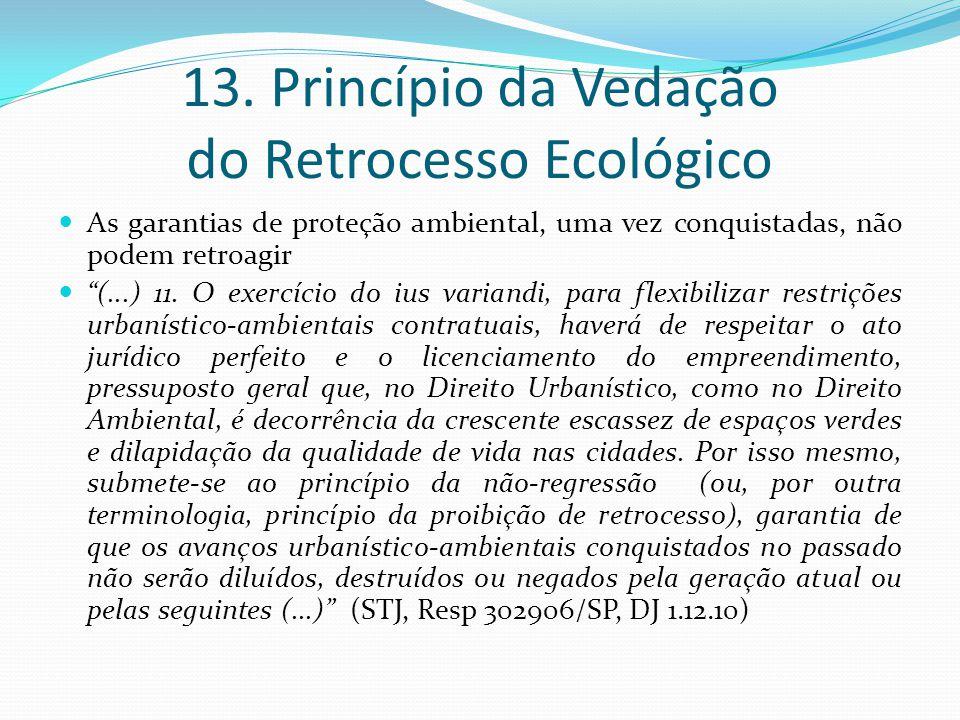 13. Princípio da Vedação do Retrocesso Ecológico