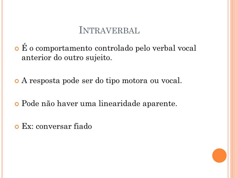 Intraverbal É o comportamento controlado pelo verbal vocal anterior do outro sujeito. A resposta pode ser do tipo motora ou vocal.