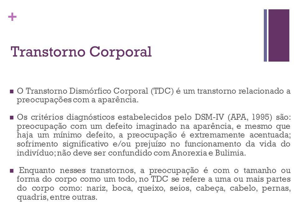 Transtorno Corporal O Transtorno Dismórfico Corporal (TDC) é um transtorno relacionado a preocupações com a aparência.