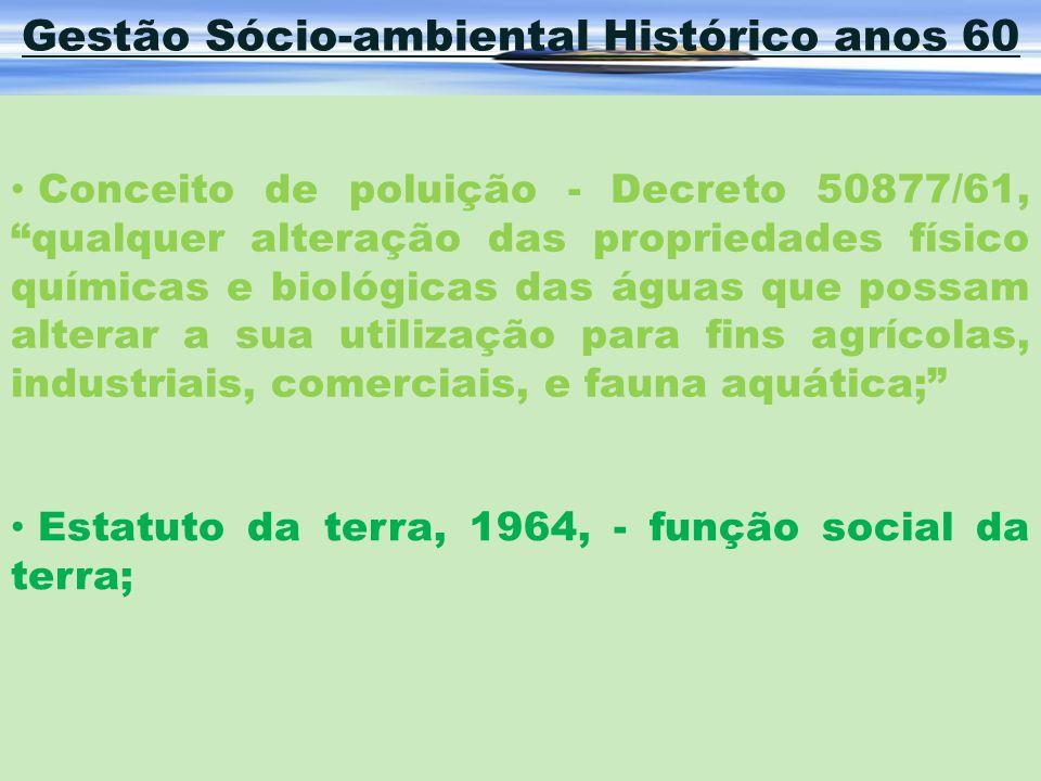 Gestão Sócio-ambiental Histórico anos 60