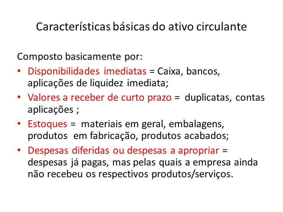 Características básicas do ativo circulante
