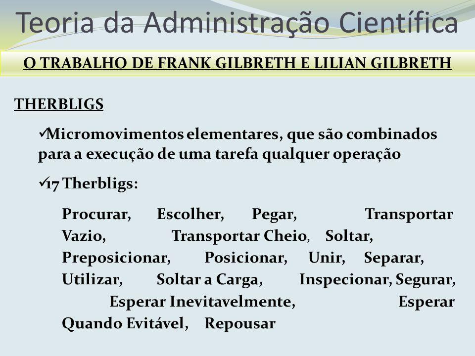 O TRABALHO DE FRANK GILBRETH E LILIAN GILBRETH
