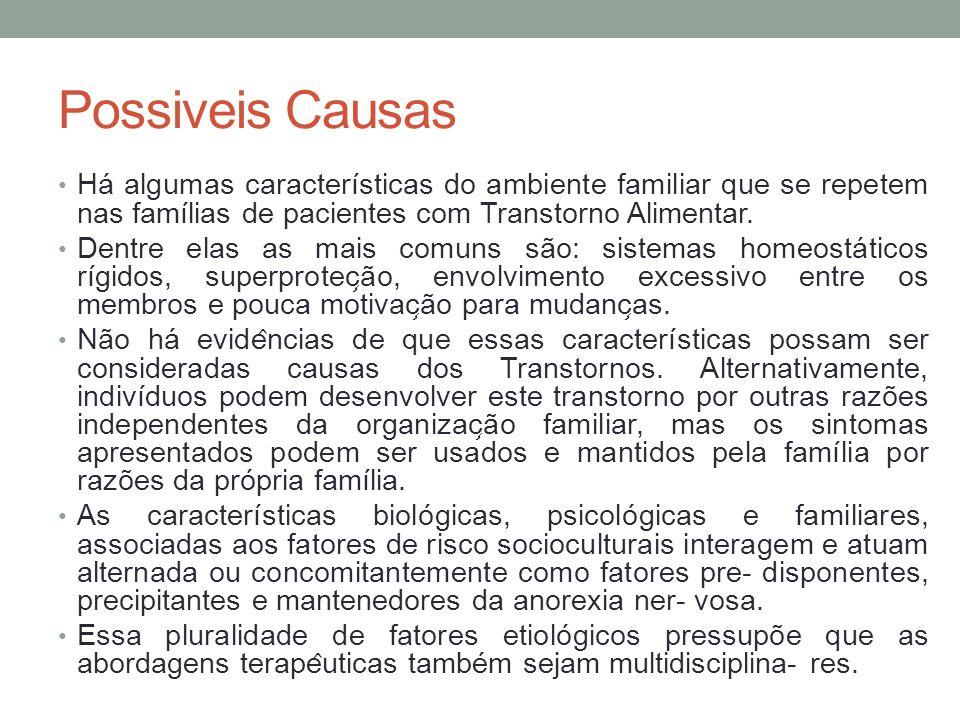 Possiveis Causas Há algumas características do ambiente familiar que se repetem nas famílias de pacientes com Transtorno Alimentar.