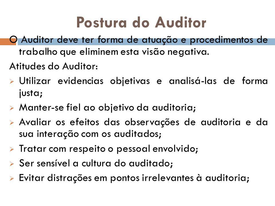 Postura do Auditor O Auditor deve ter forma de atuação e procedimentos de trabalho que eliminem esta visão negativa.