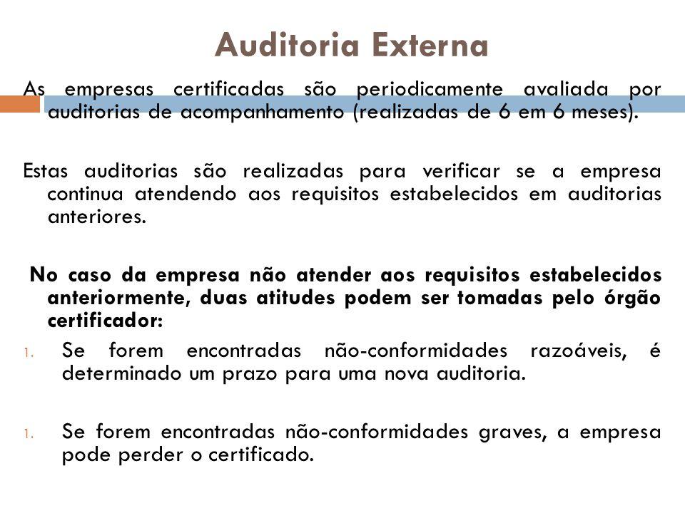 Auditoria Externa As empresas certificadas são periodicamente avaliada por auditorias de acompanhamento (realizadas de 6 em 6 meses).