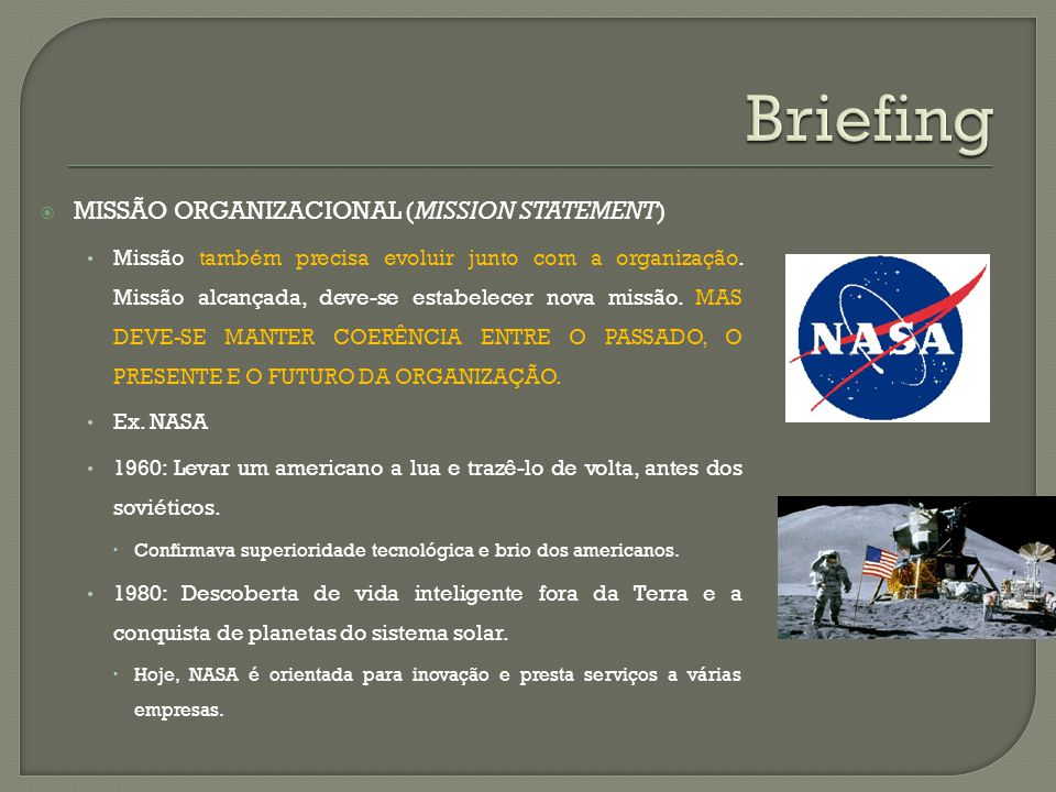 Briefing Missão organizacional (mission statement)