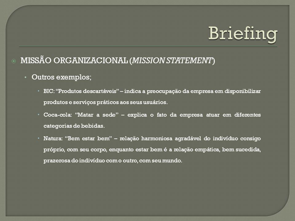 Briefing Missão organizacional (mission statement) Outros exemplos;